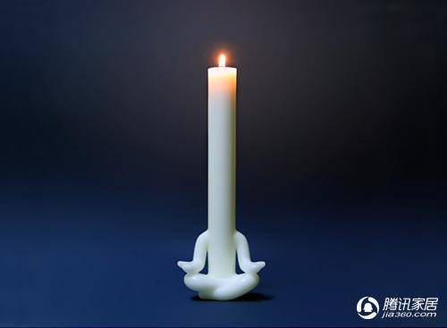 奇妙的冥想打坐蜡烛人小摆件