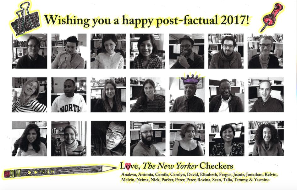 《纽约客》事实核查部工作人员合影。图中为21人,目前有一人离职。