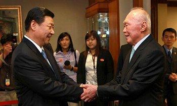 习近平在新加坡会见新加坡内阁资政李光耀