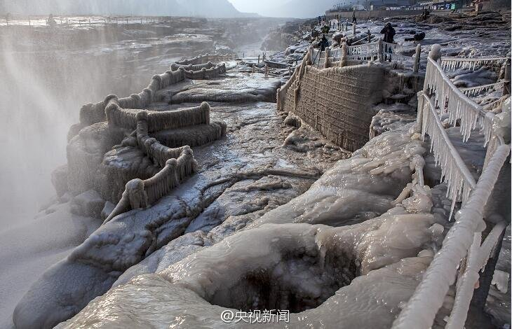 黄河壶口瀑布现冰挂美景 彩虹蓝天作伴如仙境 - 海阔山遥 - .