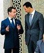 俄罗斯总统梅德韦杰夫(左)与叙利亚总统巴沙尔(右)