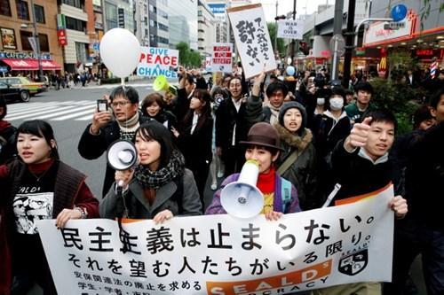 日本民众集会促废除秘密保护法 痛批安倍历史观