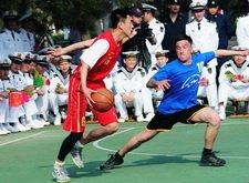 中俄水兵举行篮球友谊赛