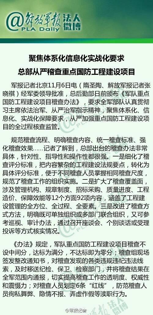 中央军委要求从严稽查重点国防工程建设项目