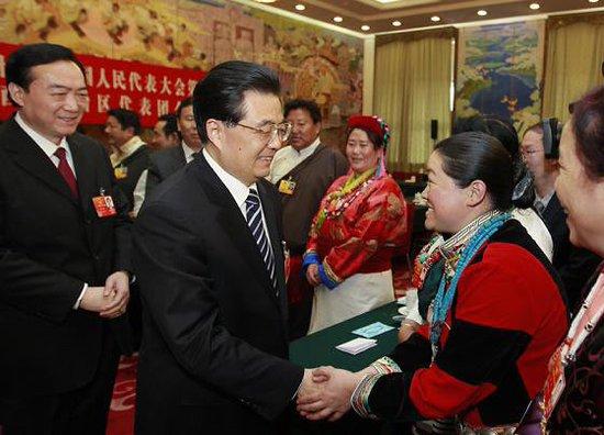 胡锦涛参加西藏团审议强调确保西藏大局稳定