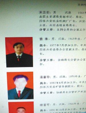 高清图—广西兴安县国土资源局网站官员脸部打马赛克防敲诈