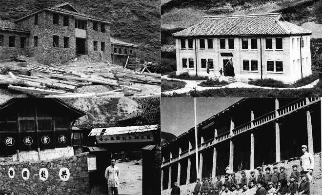 图三:左上,修造中的西康省交通厅办公楼,拍摄于1939年9月;右上,刚建成的省招待所筹边别墅,孙明经等曾居于此地,拍摄于1939年8月。左下,康定瓦斯沟小学,拍摄于1939年9月;右下,白玉县省立小学,拍摄于1939年10月。