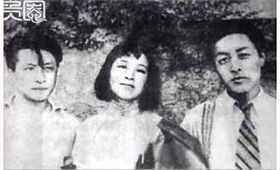 左到右:唐纳\蓝苹\金山,金曾与王莹恋爱