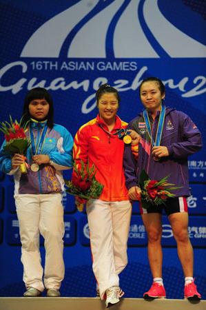 赵常玲(左)代表哈萨克斯坦参加广州亚运会