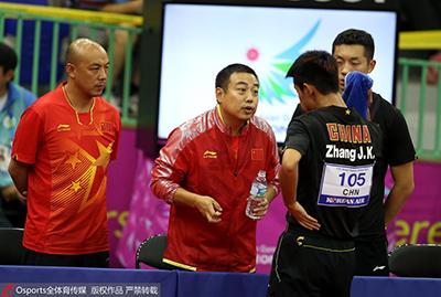 亚运会男团比赛期间,刘国梁指导张继科