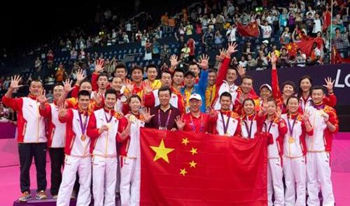 中国羽毛球队在伦敦奥运会上包揽全部5枚金牌