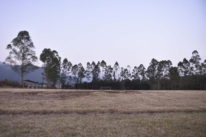 训练场地草皮枯黄、且被火烧过,已经不太适合去踢球了,最大的问题是场地是倾斜的