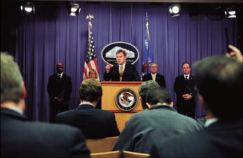 美国司法部和证券交易委员会就西门子美德两国贿赂丑闻官司召开新闻发布会
