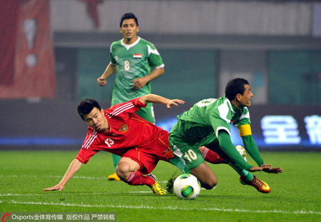 2013年3月22日,国足对阵伊拉克,孙可首发出场