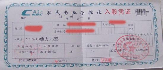 """沭阳县农村经济信息专业合作社的""""入股凭证"""",实际上就是在吸纳存款"""