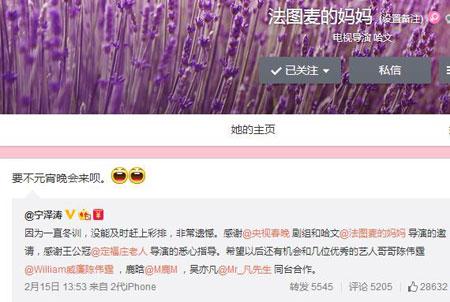 哈文发微博邀请宁泽涛上元宵晚会