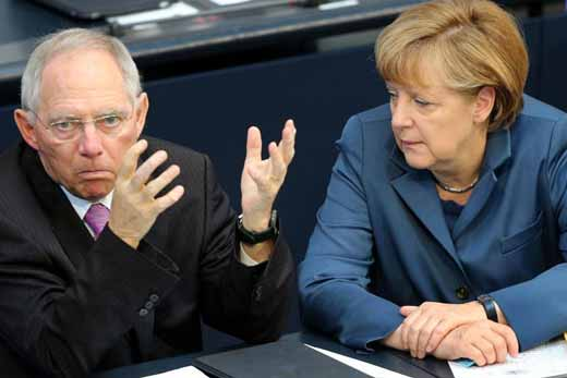 德国总理默克尔和财长朔伊布勒,要求希腊遵守严格的财务纪律