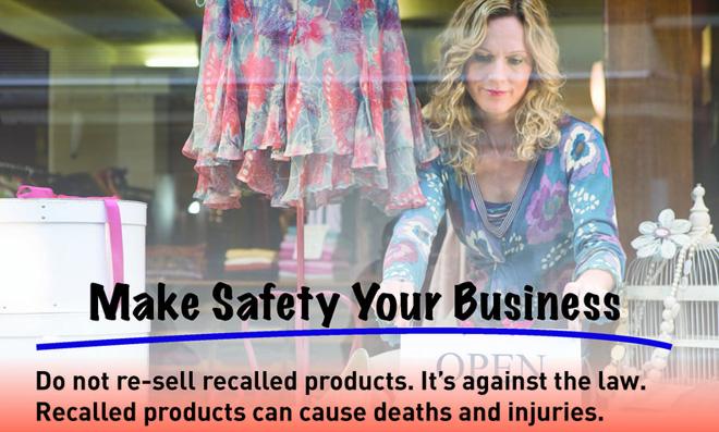 美国消费品安全委员会所作的海报,警告商家销售召回品是违法行为