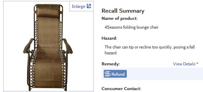 这款在美国销售的中国产椅子因为往后躺得太快,可能造成跌倒危险而被召回