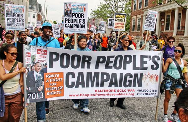 """巴尔的摩民众发起的""""穷人要工作""""的游行"""