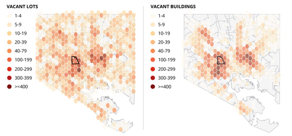 如今巴尔的摩的闲置土地和建筑,在黑人聚集区尤其萧条
