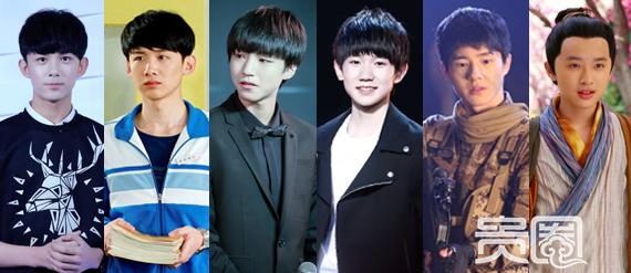 (由左至右)吴磊、白敬亭、王俊凯、王源、刘昊然、张逸杰