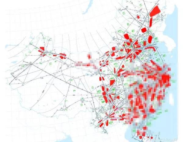 《航空知识》公众号发布的中国高空空域航线图,红色部分为飞行管制区域