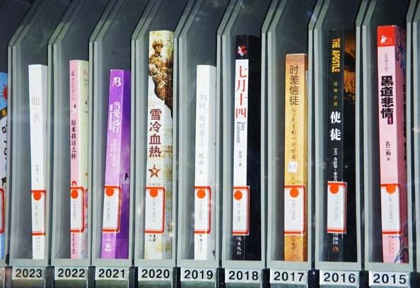 """""""书香朝阳""""里的图书也很有特色,随便看一张照片,里面就有《黑道悲情》、《原来我这么棒》"""