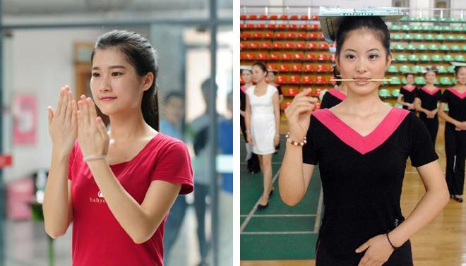 年年岁岁花相似(左图:本届残运会的礼仪志愿者训练 右图:上届残运会的礼仪志愿者训练)