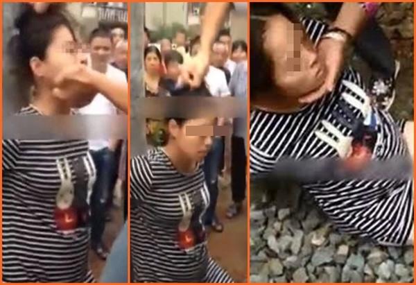 浙江临海市涌泉镇殴打孕妇视频截图