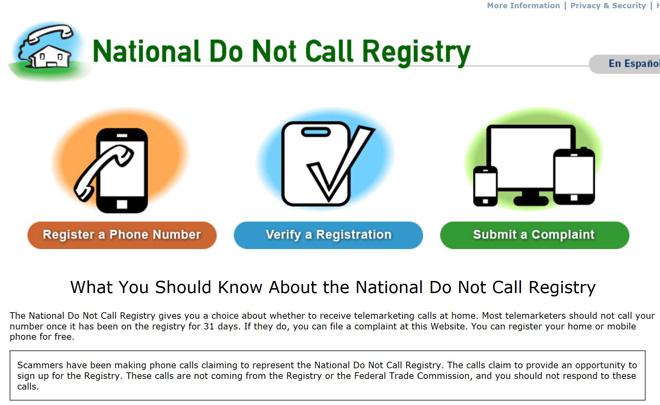 在这个美国联邦贸易委员会设立的网站上,消费者们可以通过注册和投诉来规避骚扰电话,违反的公司要被罚