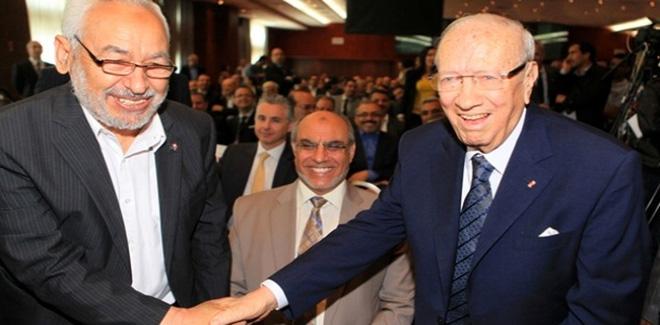 突尼斯现任总统(右)和在野党伊斯兰复兴党的领袖