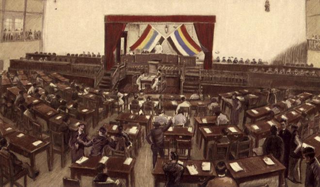 民国国会会场(写实画作)