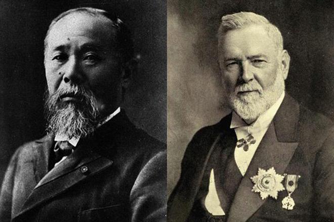 """左:伊藤博文,右:李提摩太。戊戌年康有为曾异想天开与二人商议""""中日合邦"""",并奏折报告光绪"""