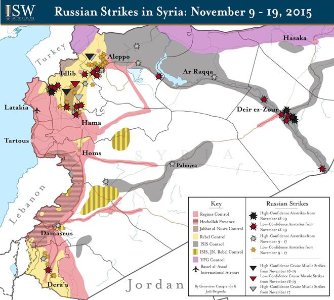 11月9日至19日,俄罗斯空袭叙利亚的主要区域仍然是叙利亚反对派占据的黄色部分