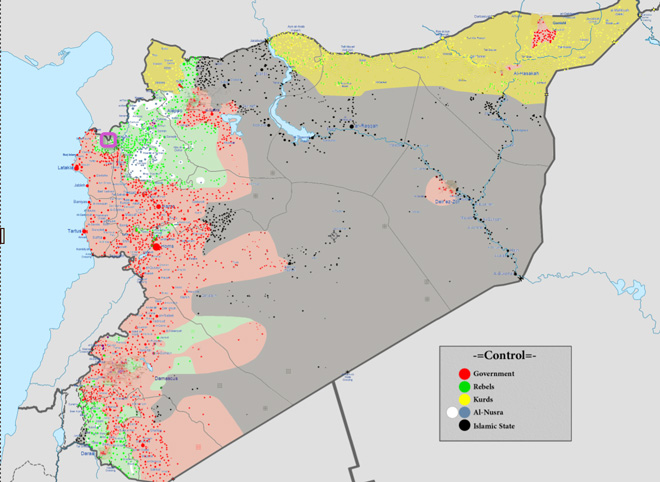 维基百科上的叙利亚战争势力分布图,黑色据点和灰色区域为ISIS控制,本次事件则发生在左上紫框处