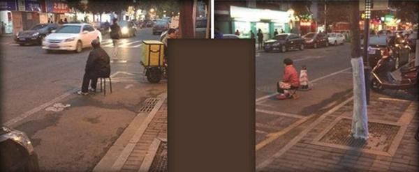很明显,老夫妻人肉占领的停车位就在马路上,是典型的路边临时车位