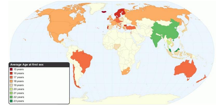 """杜蕾斯旗下调查公司2009年关于""""全球性趋势""""的研究,越趋向绿色的区域,初次性行为的年龄越晚,越趋向红色,初次性行为年龄越早;中国是22.1岁,在绿色区域"""