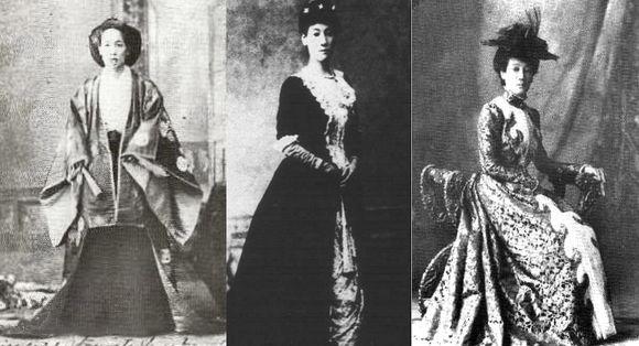 归国初期的山川舍松,左侧第一张是留学归国进宫报告的装扮