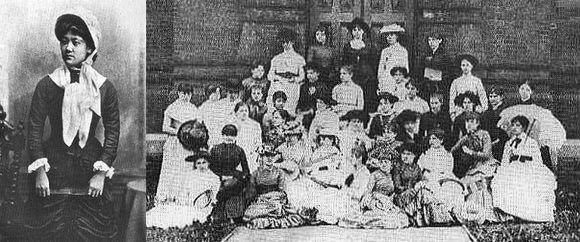 美国留学期间的山川舍松,右侧为大学毕业纪念照(第四排左起第五位)