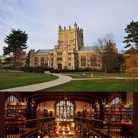 舍松就读的瓦萨学院及图书馆