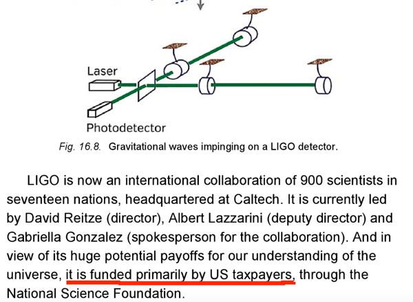 索恩在《星际穿越中的科学》特意提到,LIGO项目是美国纳税人资助的