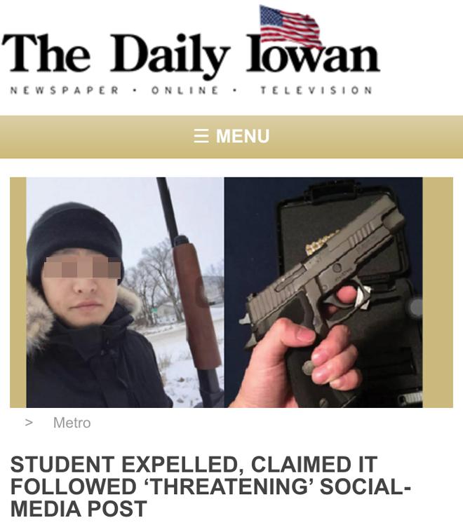 爱荷华大学校报网站上的相关报道,如右图,在发表恐吓言论前,倪某在社交媒体上发图片表示自己终于有了抢