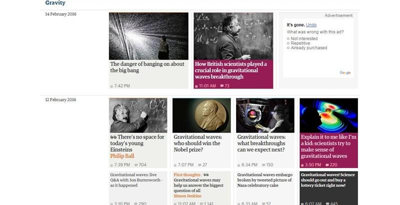 《卫报》引力波专题网页内容全面而简洁