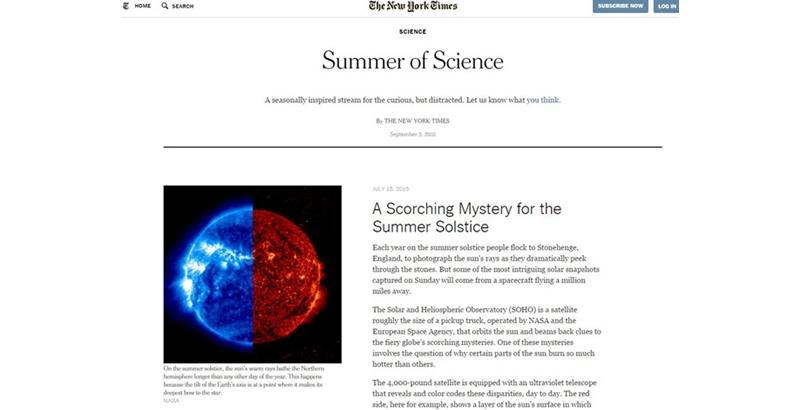 《纽约时报》夏日科技专栏页面