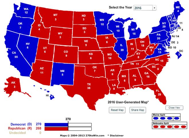 预想版本的2016美国选举地图,红区为共和党地盘,蓝区为民主党地盘,这种情形已经维持了许多年,被视为美国社会分裂的其中一个标志