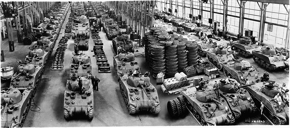 资料图:二战间美国坦克车生产线