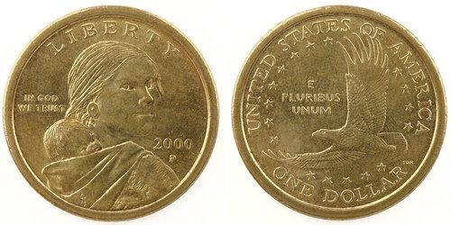 一美元硬币上的印第安女性莎卡嘉薇亚