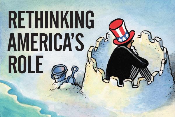 """山姆大叔给自己筑了道墙,英文单词意思是""""重新思考美国的角色"""""""