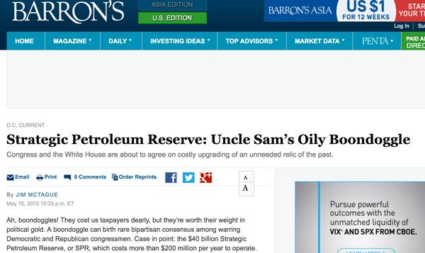 """美国知名财经刊物《巴伦周刊》抨击战略石油储备是""""山姆大叔的蠢决定"""""""